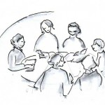 Sechs lesende Frauen am runden Tisch