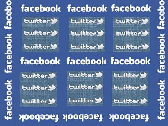 Logos von Facebook und Twitter