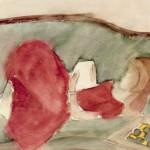 Aquarell von Gertraud Herzger von Harlessem, Mädchen liegt auf Sofa und liest
