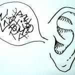 Ohr mit Sprechblase voller Buchstaben