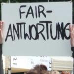 Plakat  auf dem steht Fair Antwortung