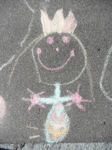 Kinderzeichnung auf Asphalt