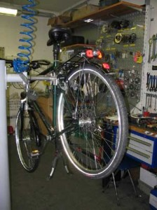 Fahrrad aufgebockt