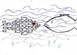 Viele kleine Fische stellen sich einem großen Fisch entgegen