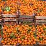Orangen in Kisten Markt