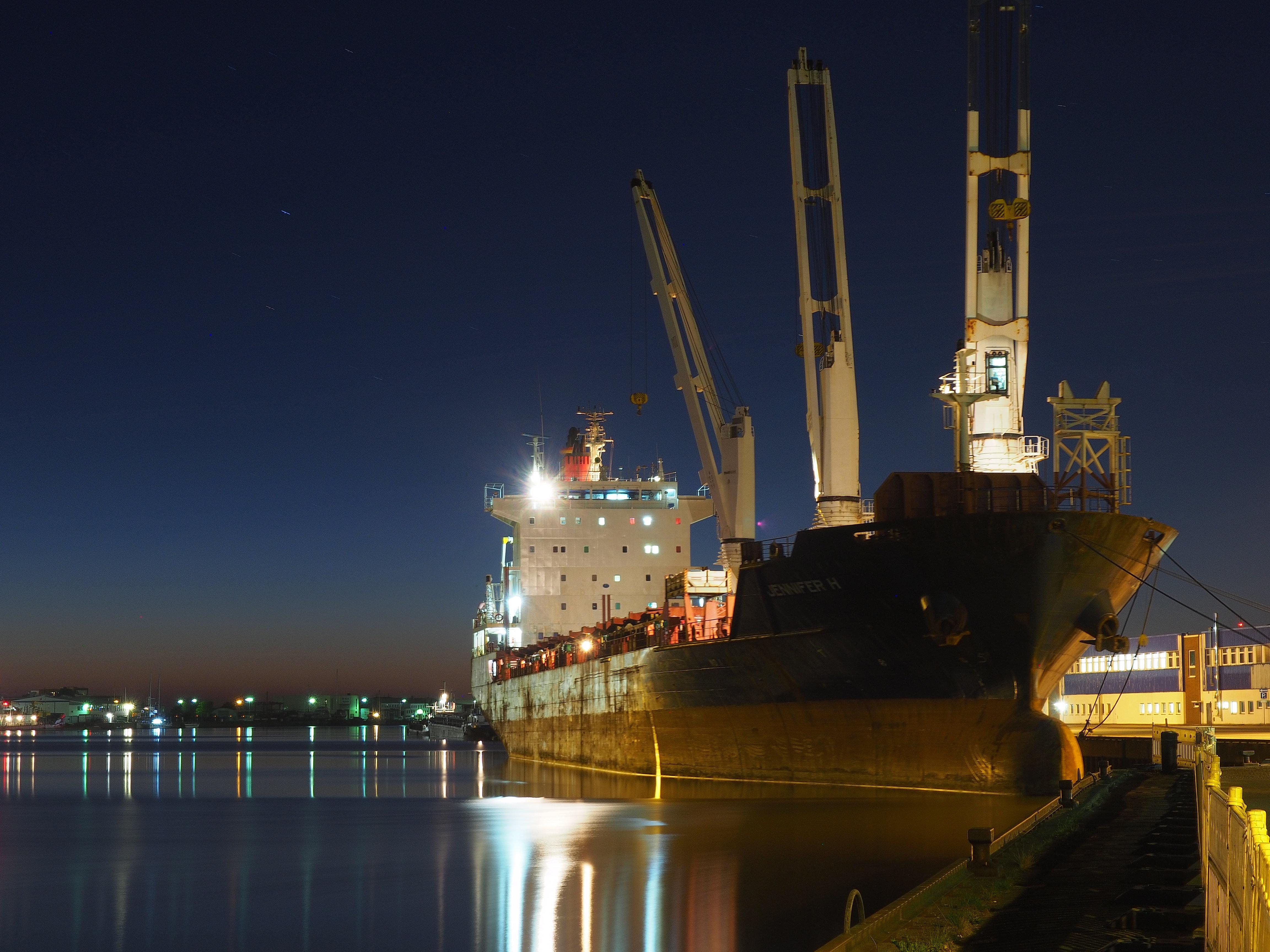 Nachts im Hafen, Fischereihafen Bremerhaven
